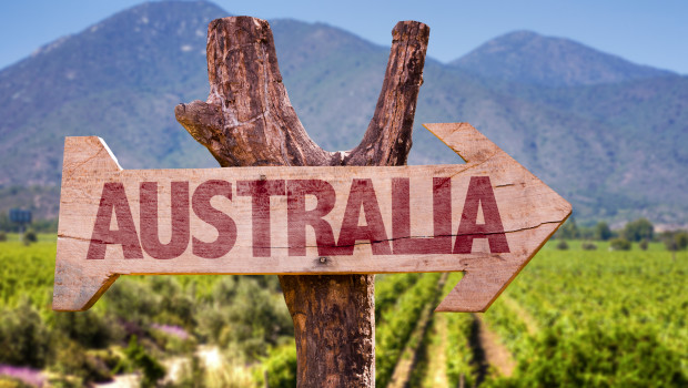Australia wooden sign with winery background
